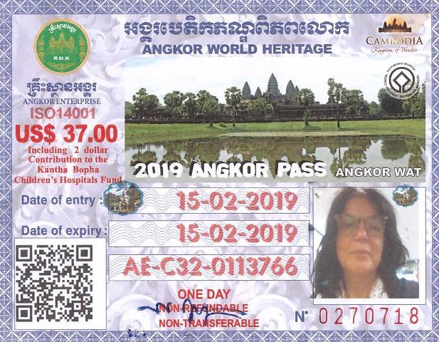 Pass pour la visite d'Angkor